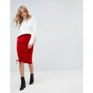 Miss selfridge ruched velvet midi skirt - red