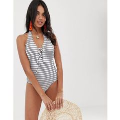 lace front scallop edge swimsuit in stripe - multi, Accessorize