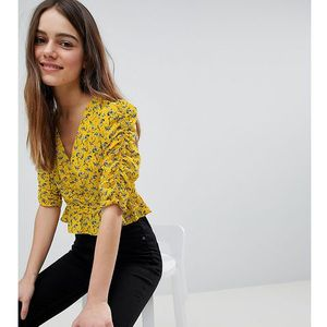 River island petite ruched front floral print top - yellow