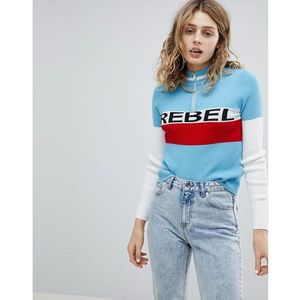 Asos zip jumper with rebel slogan - blue
