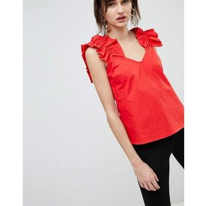 sleeveless top with frill sweetheart neckline - red, Lost ink