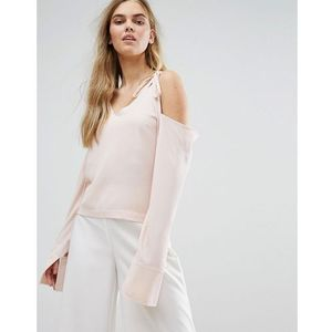 House Of Sunny Cold Shoulder Top With Tie Details - Pink