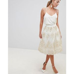 midi skirt in premium lace - cream marki Chi chi london