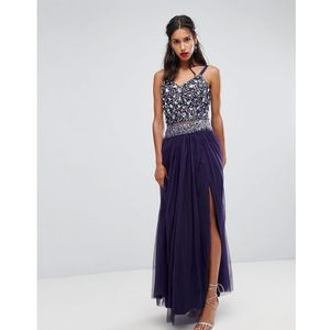Lace & beads crop top in 3d embellishment and tassel trim - purple, Lace and beads
