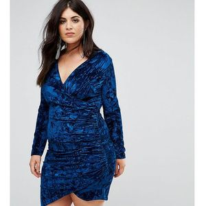 velvet wrap front mini dress - navy, Club l plus