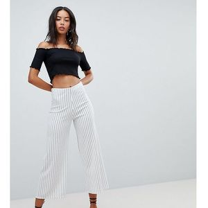 stripe culottes in white pattern - white, New look tall