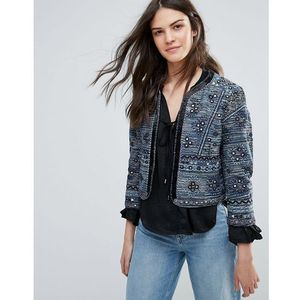 French Connection Palm Valley Embroidered Trophy Jacket - Navy, kolor Navy