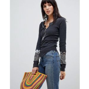 Free people railroad henley top - black