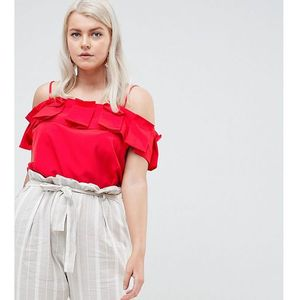 River island plus ruffle front cami top - red