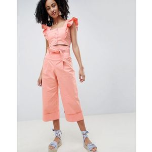 Lost ink wide leg trousers with paperbag waist co-ord - pink