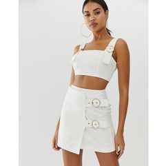 4th & reckless mini skirt with buckle detail in white - white, 4th + reckless