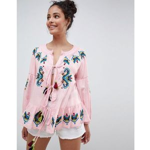 Glamorous Smock Top With Embroidery And Tassle Ties - Pink