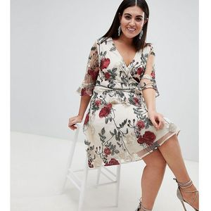 Lovedrobe wrap front allover floral embroidered skater dress - multi