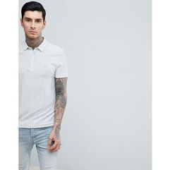 AllSaints Polo Shirt In White Stripe With Logo - White