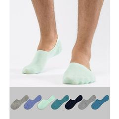 Asos design invisible liner socks in greens & blues 7 pack save - multi
