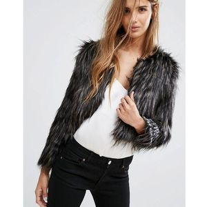 Urban Bliss Faux Fur Jacket - Black, kolor czarny