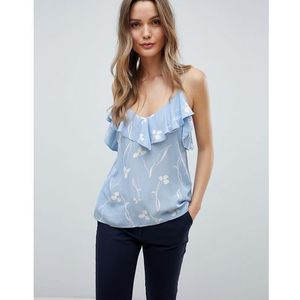 Y.A.S Clover Print Cami Top With Ruffle - Blue