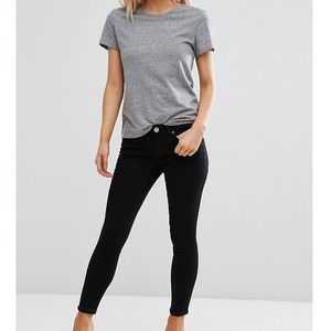 ASOS PETITE Whitby Low Rise Skinny Jeans In Clean Black - Black, jeans