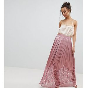 Little mistress petite lace pleated maxi skirt - pink
