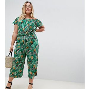 New Look Curve tropical crop trouser in green - Green