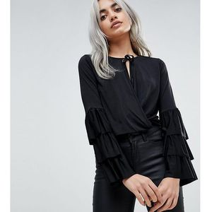 wrap front top with frill sleeves and tie neck - black marki Asos petite