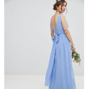 wrap front maxi bridesmaid dress with tie back - blue, Tfnc petite