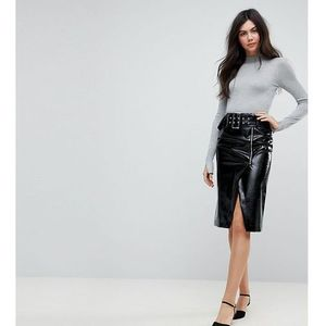 vinyl pencil skirt with belt detail - black, Asos tall