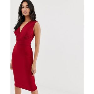 wrap front midi dress - red marki Girl in mind