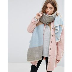 long oversized pastel stripe herringbone scarf - black marki Asos