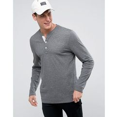 Abercrombie & Fitch Long Sleeve Henley Top in Grey - Black