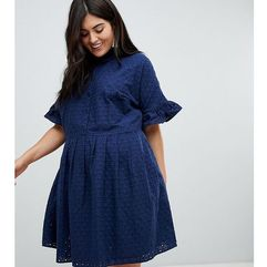 ASOS DESIGN Curve Broderie Mini Shirt Dress - Navy
