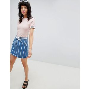 stripe denim skirt - blue marki Stradivarius