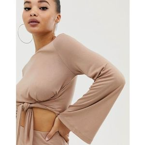 Parallel Lines long sleeved top with tie front co-ord - Beige