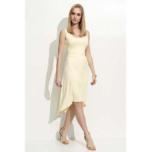 5e9f4c4faa Żółta sukienka asymetryczna na szerokich ramiączkach