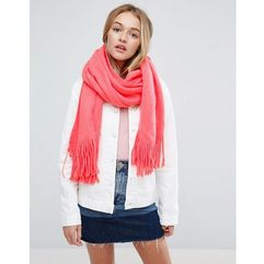 Asos long tassel scarf in supersoft knit in coral - pink