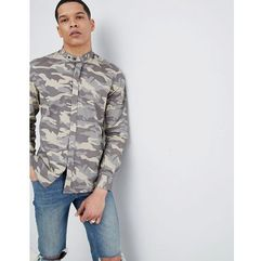 Antony Morato Grandad Collar Shirt In Camo - Green