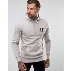 11 Degrees Hoodie In Grey With Logo - Grey, w 3 rozmiarach