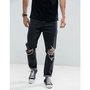 Rollas Stubs Rolled Jeans Black & White Stone Wash Busted Knees - Black, kolor czarny