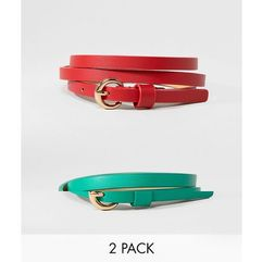 ASOS 2 Pack Waist and Hip Belts In Red and Green - Multi