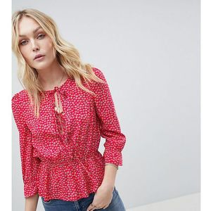 Glamorous Tall Top With Tie Front And Frill Sleeves In Ditsy Floral - Pink, kolor różowy