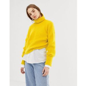 Weekday roll neck knitted jumper in yellow - Yellow