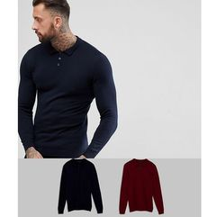 Asos design Asos 2 pack knitted muscle fit polo in navy/burgundy save - multi