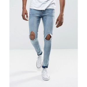 Brave soul skinny faded rip frayed jeans - blue