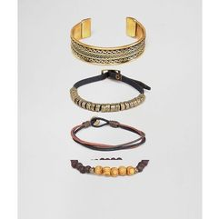 Asos design bracelet and bangle pack in burnished gold tone - gold