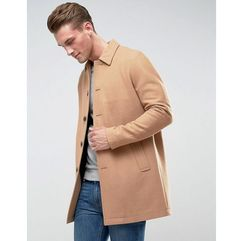 wool mix trench coat in camel - tan, Asos, XL-XXL