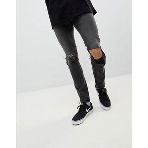 tight skinny ripped jeans with error message - black marki Cheap monday