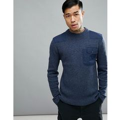 66 north grandi lambswool jumper with chest pocket in navy - navy marki 66o north