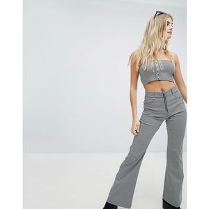 Honey Punch Wide Leg Trousers With Zip Front Mini Check Co-Ord - Multi