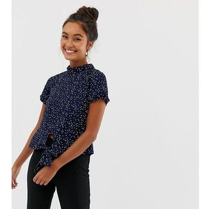 high neck top with tie front in mini dot - navy, Wednesday's girl