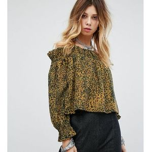Sacred Hawk Off Shoulder Blouse In Leopard - Yellow